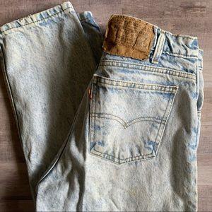 Vintage Levi's 1990s Orange Tab High Rise White Wash Mom Jeans Size 28/29